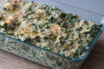 Spinat Spätzle mit Parmesan überbacken