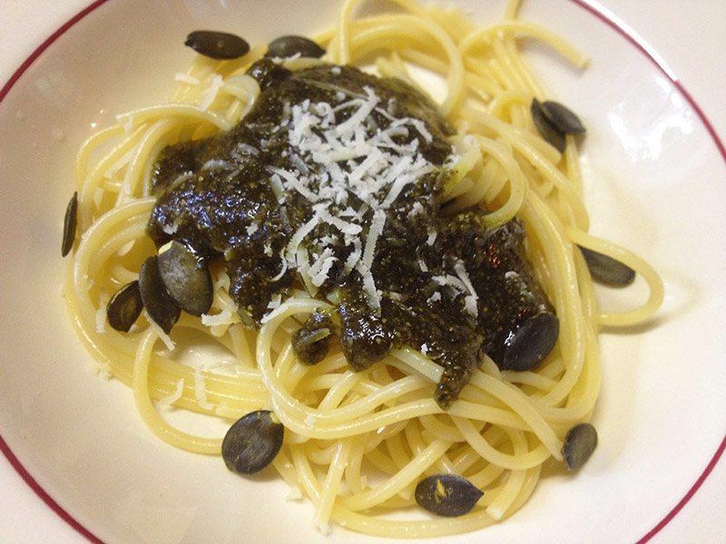 Kürbiskernpesto Spaghetti